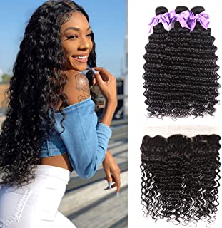 Brazilian Hair Deep Wave 3 Bundles with Frontal 13x4 Free Part Lace Frontal 100% Virgin Human Hair Bundles Brazilian Hair Extensions Natural Black Color (16 18 20+14)