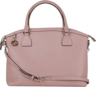 Gucci Women's GG Charm Powder Pink Leather Large Convertible Dome Bag with Strap 449660 5806