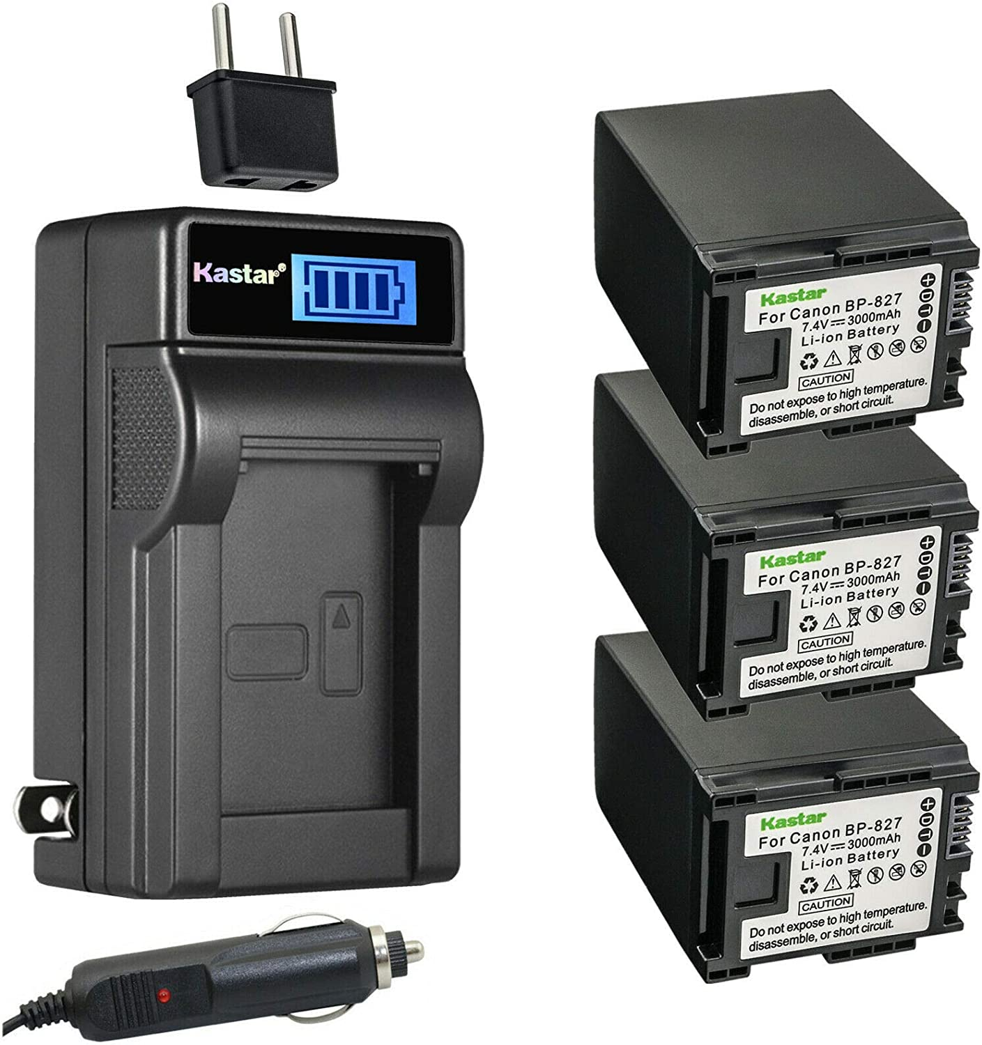 Sale item Kastar 3-Pack BP-827 Battery and LCD Charger Compatible Denver Mall AC with