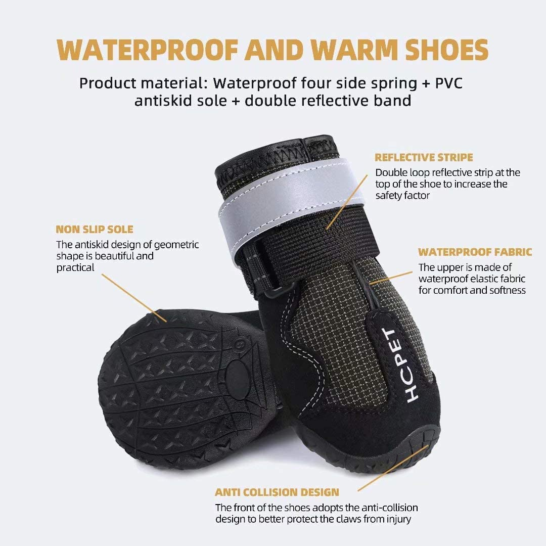 Waterproof Dog Shoes Four Ways Stretch Paw Protectors 4Ps Outdoor Dog Rain Boots for Small to Large Dogs Dog Booties with Reflective Rugged Anti-Slip Sole and Skid-Proof Hcpet Dog Boots