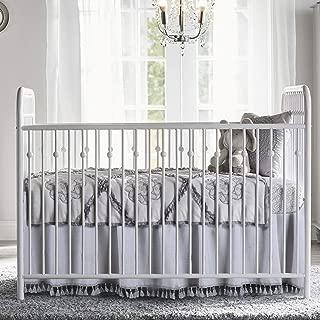 Crib Skirt Grey Dust Ruffle Baby Bed Skirt with Tassel Trim Nursery Crib Bedding Skirt for Baby Boys and Girls,15
