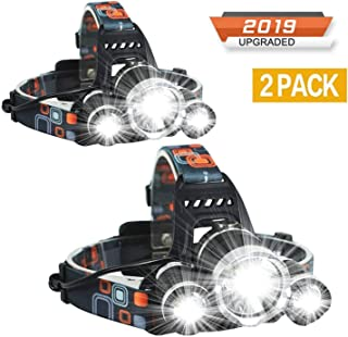 Newest Headlamp Flashlight 10000 Lumen,Best IMPROVED LED with Rechargeable Battery, Bright Head Lights,Waterproof Hard Hat Light,Fishing Head Lamp,Hunting headlamp,Camping headlamp (2Pack Headlamp)