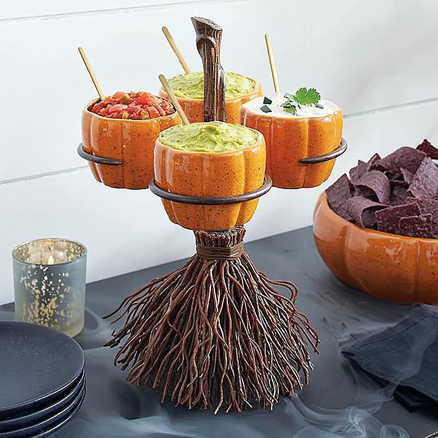 Halloween Broomstick Pumpkin Snack Decoration High quality Bombing free shipping Stand Bowl Vintag