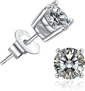 Brilliant Cut CZ Stud Earrings – 18K Gold Plated Stud Earrings for Women Men Ear Piercing Earrings Cubic Zirconia Inlaid,4-7mm Available