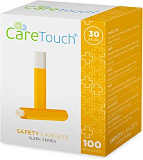 Care Touch Safety Lancets - 100 Lancets, 30 Gauge - Diabetic Supplies for Blood Glucose Testing, No Lancing Device Needed