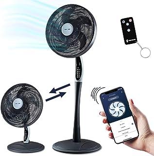 LED Display stufenlos verstellbare Laufgeschwindigkeit Stand-Ventilator a-series AS1220 wei/ß Timer mit Fernbedienung