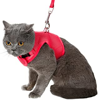 Escape Proof Cat Harness with Leash - Adjustable Soft Mesh - Best for Walking Red Large