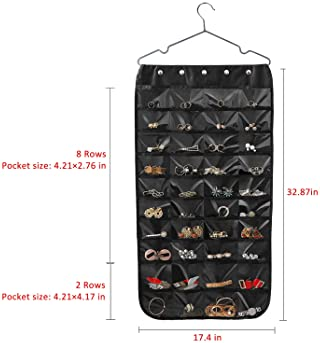 Hanging Jewelry Organizer, Double Sided 40 Pockets and 20 Magic Tape Hook Jewelry Organizer, Necklace Holder Jewelry ...