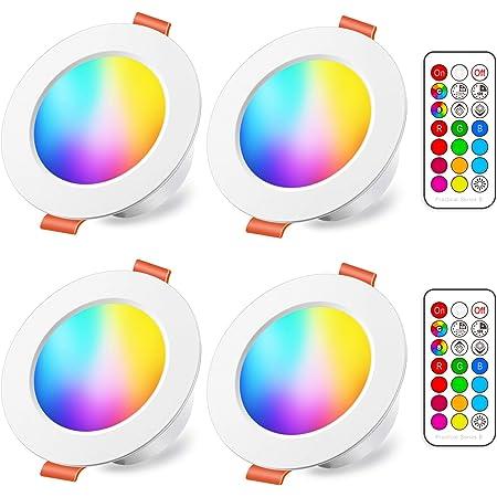 Spots LED Encastré 8W (équivalent 60W) Couleur RGB Changement Variation Coloré RGBW IP44 Blanc Chaud 2700K RondDimmable Encastrables par Télécommande (lot de 4)