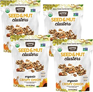 Hippie Snacks Seed & Nut Clusters, Crispy Onion, 2.8oz (Pack of 4)