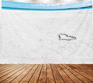 Musesh Hearts Drawn On The Sand of A Beach Wall Hanging Tapestry,Art Tapestry, Tapestries Wall Hanging for Bedroom Living Room Decor Inhouse 80x60 Inches Size Heart Drawn On The Beach Sand
