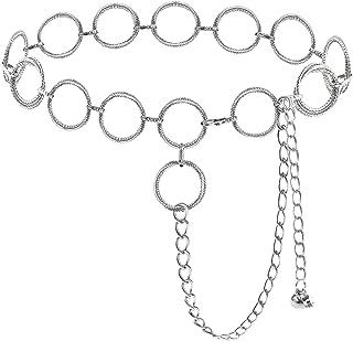 Lamdgbway أحزمة سلسلة دائرية للنساء حزام الخصر حزام للفساتين حزام حزام خصر سلسلة هدية للفتيات