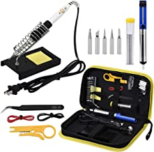 Wmore Soldering Iron Kit, 14 in 1 110V 20W to 60W Adjustable Temperature Soldering Iron,1xDesoldering Pump,1xSoldering Sta...