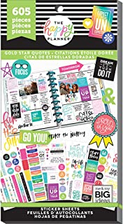 me & my BIG ideas Sticker Value Pack for Classic Planner - The Happy Planner Scrapbooking Supplies - Gold Star Quotes Them...