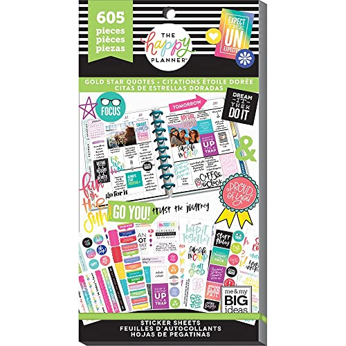 me & my BIG ideas PPSV-75-3048 Value Pack Stickers Gold Star Quote