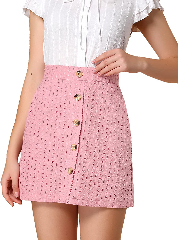 Allegra K Women's Mini Skirt Button Decor Elastic Waist Embroidered A-Line Skirts