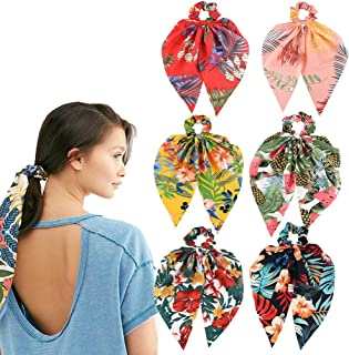 6 PCS Hair Scrunchies Satin Elastic Hair Bands Hair Scarf Bohemian Style Ponytail Holder Ties Vintage Hair Accessories for...