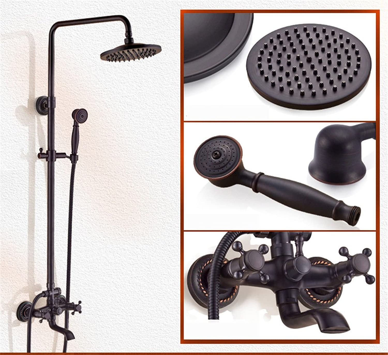 ETERNAL QUALITY Bathroom Sink Basin Tap Brass Mixer Tap Washroom Mixer Faucet Black shower kit full copper hot and cold faucets antique home Bathroom Wall shower Kitchen