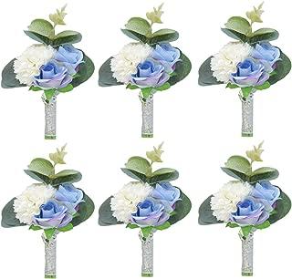 Pauwer Boutonniere Set of 6 Groom Boutonniere Flower Corsage for Men Groomsmen Wedding Prom Suit Decoration (A Boutonniere Set of 6-Blue)