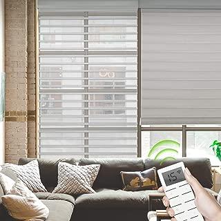 Yoolax Motorized Sheer Window Blinds Shangri-la Blinds Light Filtering Window Roller Shades Custom Size (White)