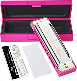 Eastar Major Blues Harmonica 10 Holes C Key Beginner Diatonic Harmonica for Kids and Adults with Hard Case and Cloth, Pink