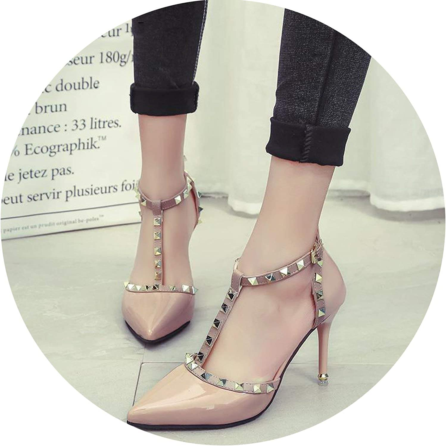 HANBINGPO New Women Pumps Summer Fashion Sexy Rivets Pointed Toe Wedding Party High Heeled shoes Woman Sandals shoes women,Nude,6