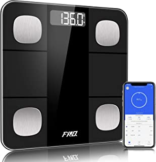 مقیاس چربی بدن بلوتوث ، مقیاس سنسور دقت بالا وزن دیجیتال و چربی بدن ، مقیاس حمام هوشمند با پلت فرم شیشه ای با دوام ، صفحه نمایش بزرگ دیجیتال با نور پس زمینه LCD و برنامه تلفن هوشمند ، سیاه