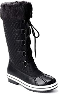 Trary Women's Waterproof Faux Fur Lined Zipper Winter Snow Boots