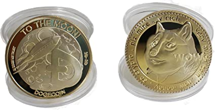 Physical Dogecoin Collectible Souvenior 2 Pack for Doge Coin & Commemorative Cryptocurrency Enthusiasts   to The Moon SHIBES
