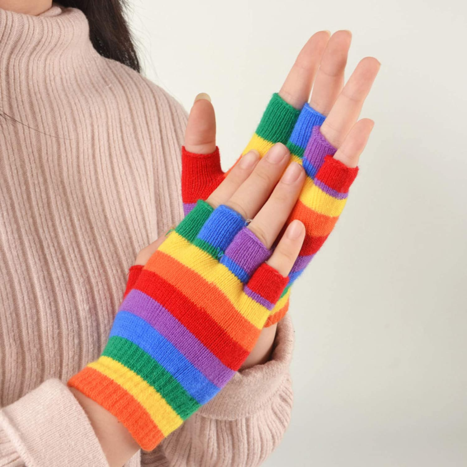 NINGYE Kids Winter Warm Knitted Gloves Rainbow Colorful Striped Mittens