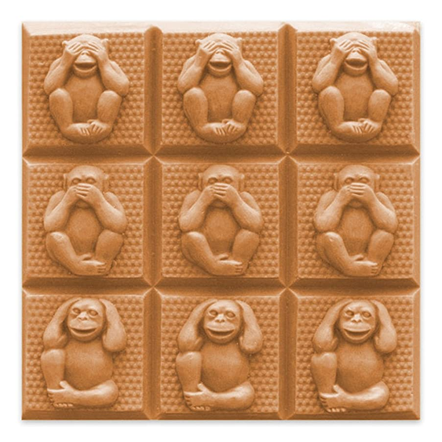 Milky Way Monkey 3 Wise Soap Mold Tray - Melt and Pour - Cold Process - Clear PVC - Not Silicone - MW 65