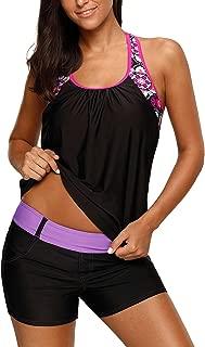 Women's Blouson Floral T-Back Push Up Tankini Top S-XXXL