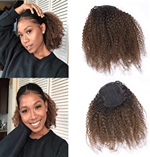 Human Hair Ponytail Extension 4B 4C Afro Curly Ponytail Hair Piece For African American Black Women Afro Drawstring Kinkys Curly Human Hair Ponytail Ombre 1B/4 Dark Brown 14 Inch