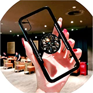 Kickstand Phone Case for iPhone 8 7 Plus Case Transparent Luxury Rhinestone Holder Cover for iPhone X 7 8 6 6s XS Max XR Coque,Black with Holder,for iPhone Xs Max