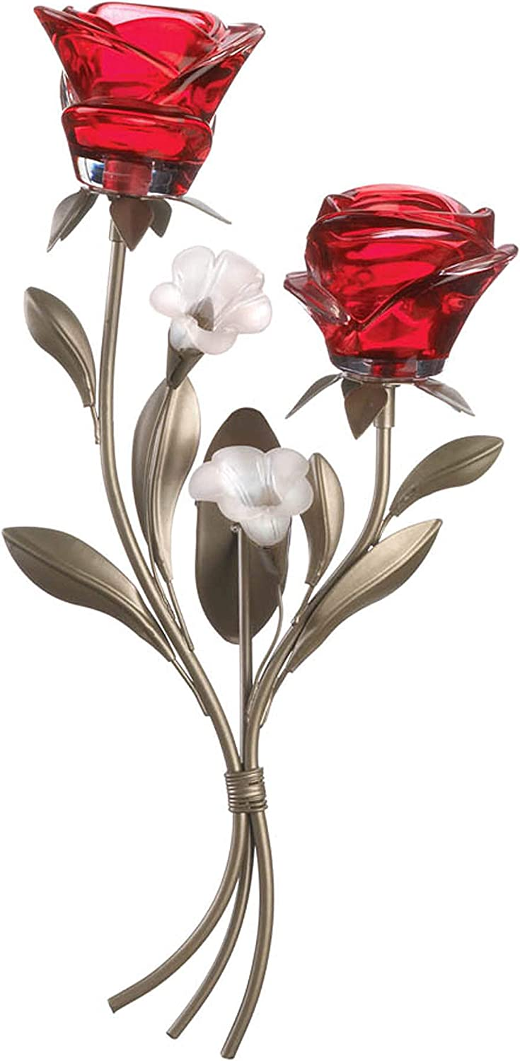 Accent Alternative dealer Plus 10018784 Romantic White Indianapolis Mall Wall Sconce Roses