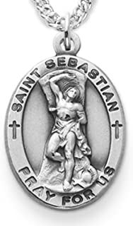 TrueFaithJewelry Sterling Silver Oval Saint Sebastian Patron of Athletes Medal, 7/8 Inch