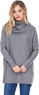 Women's Casual Cowl Turtle Neck Collar Pullover Sweater - Oversized, Warm W/Ribbed Cuffed Long Sleeves