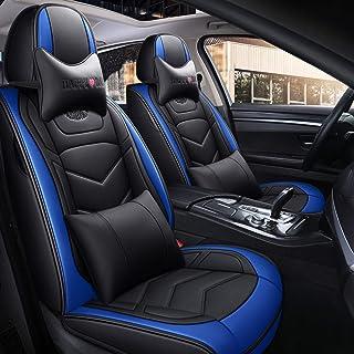 Cubiertas de asiento de automóvil, universal para 5 asientos Vehículo a prueba de agua Conjunto completo de cuero PU Cojín de asiento personalizado Adecuado para sedán SUV Camión Ajuste para la ,A