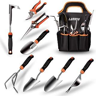 مجموعه ابزار باغ LANNIU ، مجموعه 9 قطعه ابزار باغبانی سنگین از جنس استنلس استیل ، با گرفتن لاستیک ضد لغزش ، جیب ذخیره سازی ، هدیه کیت ایده آل باغ ابزار برای زنان / والدین