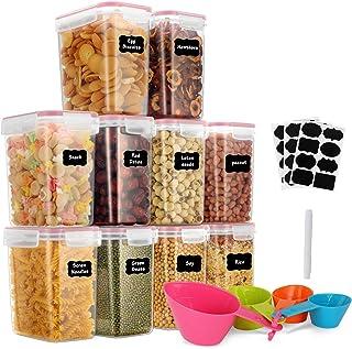 GoMaihe 1.6L Botes Cocina, Juego de 10 Piezas de Recipiente de Botes Cocina Almacenaje de Plástico de Alimentos Sellados c...
