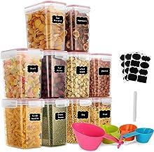 GoMaihe 1.6 Liter Voorraaddozen 10 Stuks, Opbergdoos, Keuken, Luchtdicht, Plastic met Deksel, Voorraadpotten voor Het Bewa...