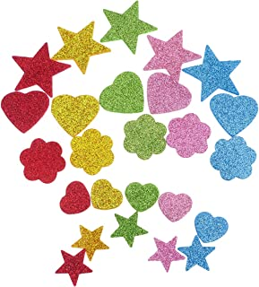 HEALLILY 280pcs EVA Foam Stickers Self Adhesive Glitter Stickers Assorted Shapes Embellishments DIY Craft Foam Decals for ...