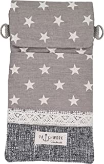 Goldline Smartphone- und Handy Tasche, Umhängetasche, Crossbag, Patchwork grau Sterne