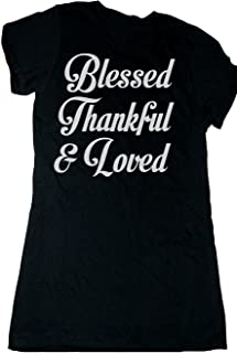 Custom Kingdom Adult Womens Blessed Thankful and Loved Thanksgiving T-Shirt