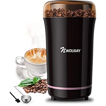 NWOUIIAY Molinillo de Café Eléctrico 300W Molinillos de Especias Semillas Frutos Secos con Cuchillas de Acero Inoxidable y Cuchara Gratis