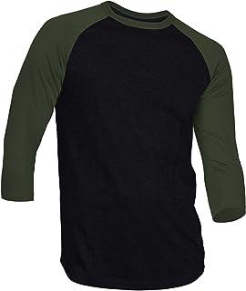 Dream USA Men's Casual 3/4 Sleeve Baseball Tshirt Ra