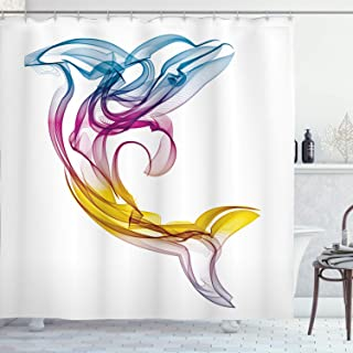 Ambesonne Sea Animals Shower Curtain, Dolphin with Ornamentals Abstract Art Aquatic Animal Illustration Image, Cloth Fabric Bathroom Decor Set with Hooks, 70