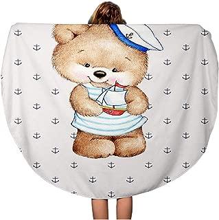 Pinbeam Beach Towel Marine Cute Teddy Bear Sailor Anchor Artistic Baby Travel 60 inches Round Tapestry Beach Blanket