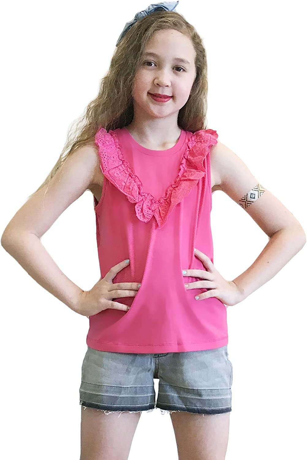 M.D.K Max 76% OFF Girls Eyelet Sleeveless Casual Solid Ruffle Color Crewneck Gifts
