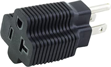 AC WORKS [XH515520] 15 Amp Household Plug to 20 Amp T-Blade Female Adapter